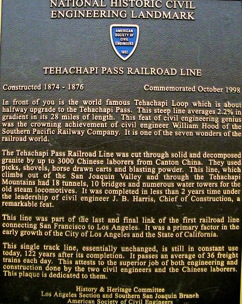 Toldja there was more history coming!  This plaque is out by the famous Tehachapi Loop, and is not the only one.