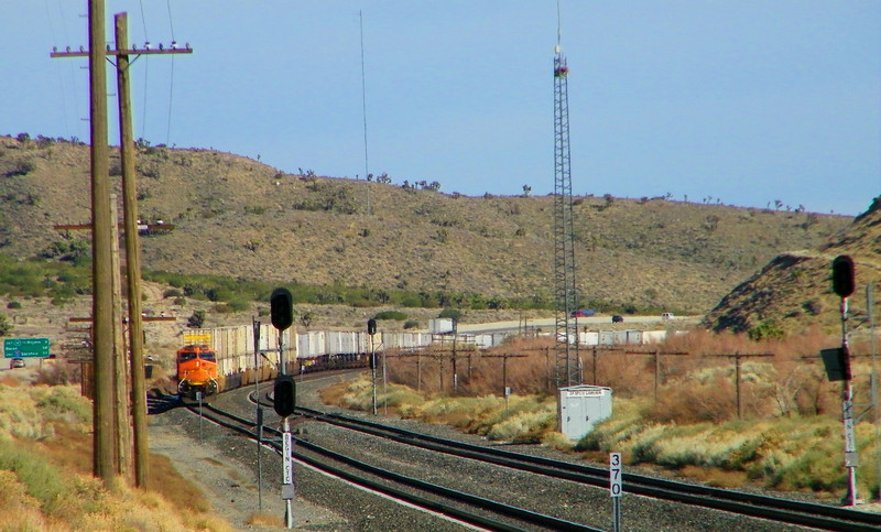 Turn around again and there's the BNSF freight, crew change seemingly complete but still parked.