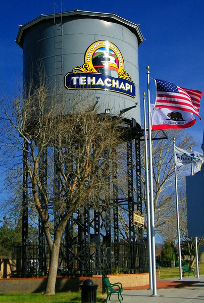 Up a little closer and more personal-like with Downtown Tehachapi's water tower.