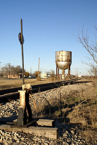 Old switch stand and water tower in Barnhart, TX