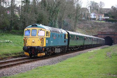 33103 'Swordfish' passes the site of Old Hoalthy station with 1335 Sheffield Park - East Grinstead 21/3/14