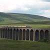 55019 Royal Highland Fusilier crosses Ribblehead Viaduct with a south bound Regency Rail Cruses charter, 9/6/1999.