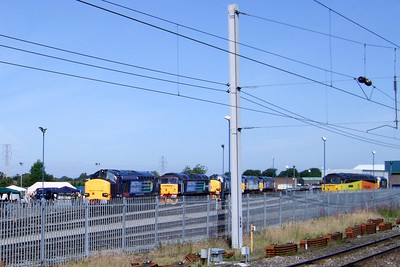 DRS' open day at Carlisle Kingmoor depot gets underway, with 37610, 47790, 37423, 57008, 57012 and 47739 visible, 11/07/09.