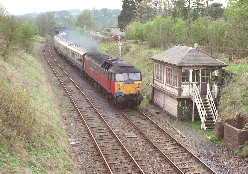47725 The Railway Mission passes the now dismantled Wennington box with an east bound charter train, 28/4/2000.