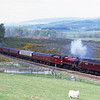 47760 drags 45699 Galatea in light steam near Clapham en-route to York, 15/5/2015.