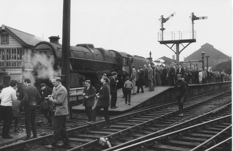 Bolton allocated 45377 and preserved K4 3442 The Great Marquess is at Blackburn on 16/04/67 with The Mercian Rail Tour.