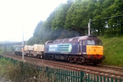 57009 and 57008 return through Beckfoot near Grayrigg with 6C52 Heysham PS - Sellafield. (photo from iPhone)