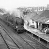 "Bournemouth's West Country 4-6-2 34040 Crewkerne coming off the spur into Reading (West) with the southbound ""Pines Express"" on 07/08/64. She was to survive until the end of SR steam in July 67."