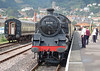 With the church of St Michaels on the hill Minehead in the back ground BR 4MT class 80136 backs on to her train 17 August 2006. Another steam locomotive that was rescued from Barry scrap yard in summer 1979.