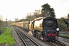 """34067 """"Tangmere"""" arrives at Corfe Castle with 1Z96 """"The Capital Christmas Express"""" heading for London Euston 26 November 2011. Not a bad shot, taken at 08:15 in the morning, the sun just managing to stagger up!!."""