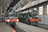 """Two famous GWR class locomotives are seen inside Didcot steam shed.<br /> On the left Castle Class 5051 """"Earl Barthurst"""" built 1936 & withdrawn in 1963 after running in excess of 1 millon miles. On the right Hall class 6998 """"Burton Agnes Hall"""" built at Swindon in 1949 & withdrawn in 1966 she is now a static exhibit."""