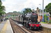 """LMS 8F 48151 is seen storming through Bagshot 19 June with """"The Cathedrals Express"""" heading for Canterbury West. The waiting gallery of people showered in ash & lumps of coal as she passed through!!"""