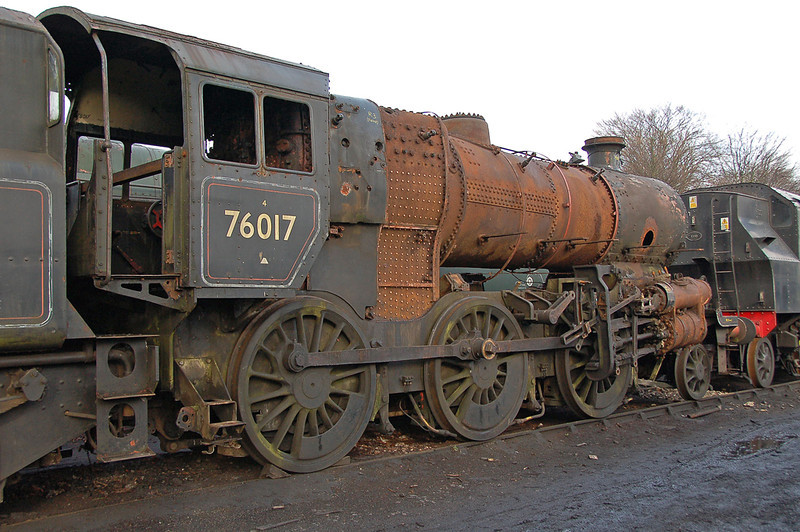 British Rail standard Class 4mt 76017 is seen at Ropley in the process of being stripped for overhaul 23/01/2010. This locomotive built in 1953 lasted just twelve years in traffic with BR before being withdrawn.