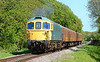 Crompton 33111 & Tc unit power past Quarr farm crossing at the Swanage railway 11/05/2014.