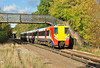 South West trains Juniper 458012 arrives at Bagshot with 2N37, the 14:29 service to Guildford, in some welcome sun 29/10/13