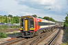 SWT 159001 arrives at Basingstoke on 1L39 London Waterloo-Sailsbury 12/10/13. Note the Pigeon in full flight, they do have a habit of intruding !!