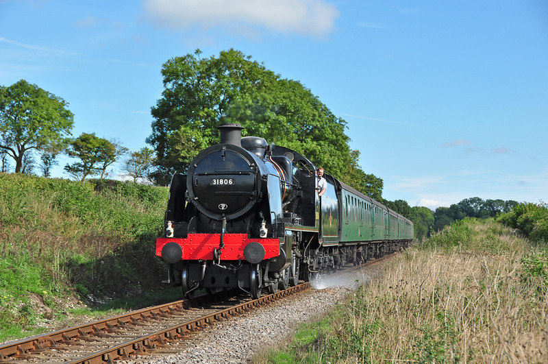 SR U Class 31806 is seen in action on the Mid Hants railway, in some welcome autumn sun  06/10/13.