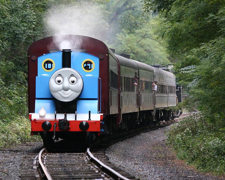 Thomas the Tank Engine pulls passengers towards Cumberland, MD