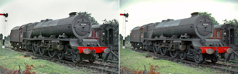 "LMS Stanier ""Princess Royal"" Class 4-6-2 No. 46201 ""Princess Elizabeth"" was stored for a while at Dowty's yard in Ashchurch, prior to restoration to main line running.  Almost in ""as bought"" condition from BR here she is on Sunday 4th July 1965."