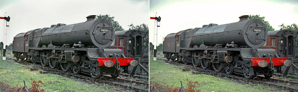"""LMS Stanier """"Princess Royal"""" Class 4-6-2 No. 46201 """"Princess Elizabeth"""" was stored for a while at Dowty's yard in Ashchurch, prior to restoration to main line running.  Almost in """"as bought"""" condition from BR here she is on Sunday 4th July 1965."""