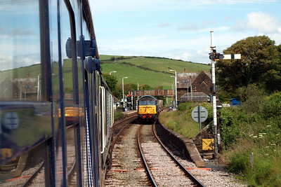 Approaching St Bees, with 57003 and 57007 on 6C53 in the southbound platform.