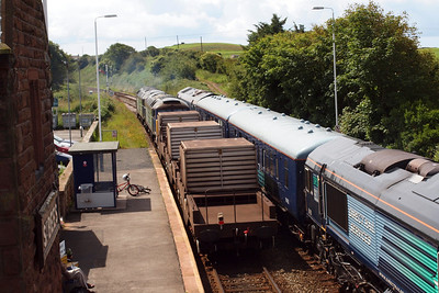 57003 and 57007 make their exit from St Bees.