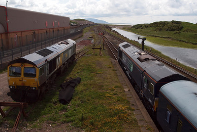 66301 in Fastline livery and 66302 (formerly in Fastline livery) at Sellafield.