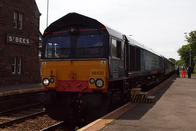 66420 with the escort vehicles at St Bees.