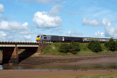 67013 Dyfrbont Pontcysyllte arrives at Ravenglass with the Three Peaks charter from the north.