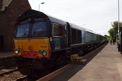 66420 waits at St Bees for a southbound passenger train.