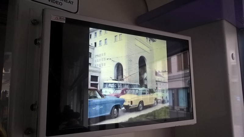 Nice touch on one of the few modern trams was picture shows of scenes from the past on of the Timisoara public transport network