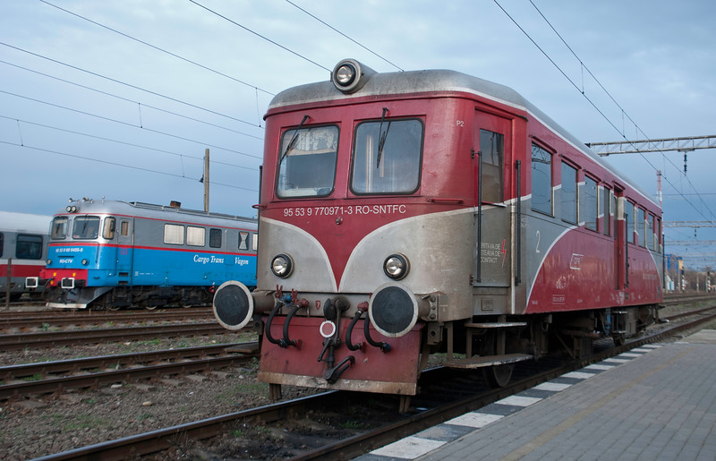 Ancient original Romanian rail car at Timisoara station