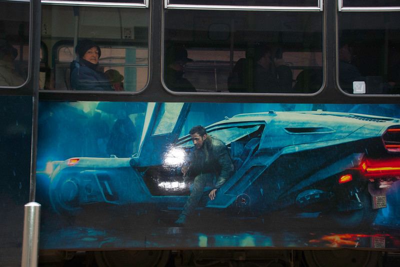 This would have been a good picture if it hadn't been for the glare on the hand crafted Bladerunner illustration on the side of the tram