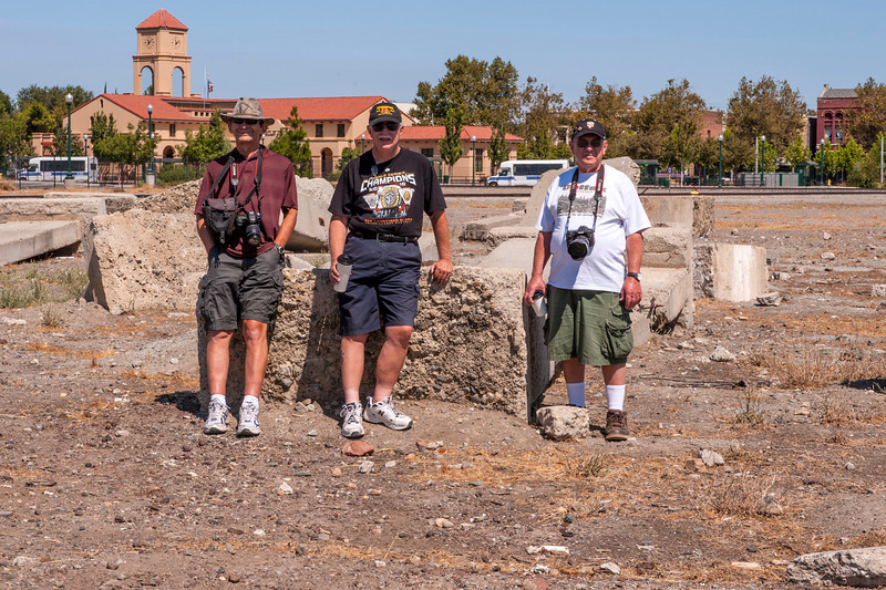Paul, Don and Chris at the spot where the Tracy Roundhouse used to stand.