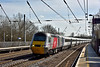 Recently re-branded HST power car 43238 passes Welham Green at the head of 1D13 12.03 service from Kings Cross to Leeds<br /> The Virgin markings seem to have worked well over the former East Coast livery.<br /> <br /> 10 March 2015
