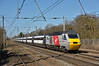 HST power car 43367 speeds through Welham Green with 1A25 the10.45 Virgin service from Leeds to London Kings Cross <br /> Although carrying former East Coast branding on the stock the transition to Virgin branding looks really good in the circumstance.<br /> <br /> 10 March 2015