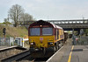 66098 rattles the platform at Iver as it passes with 6Z23 Thorney Mill to Appleford Sidings loaded spoil wagons<br /> <br /> 16 April 2015