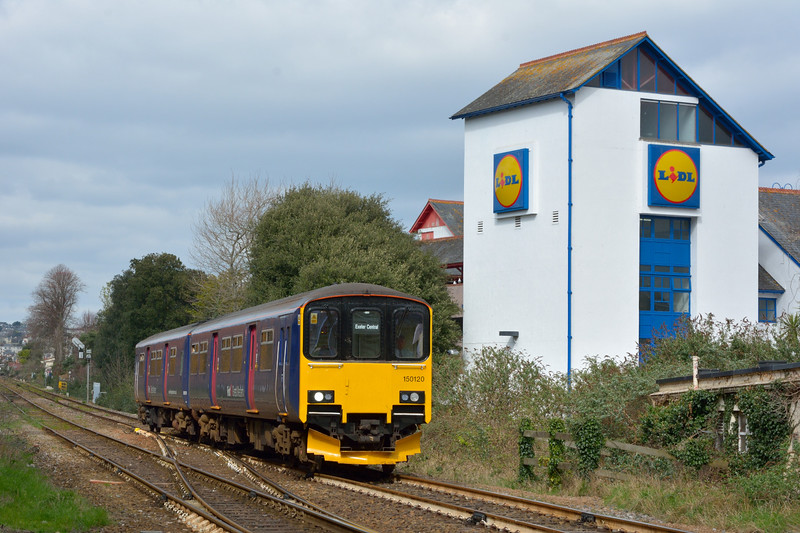 Two car Sprinter 150120 arrives at Paignton with 2T19 14.30 service from Exeter St Davids<br /> <br /> 4 April 2015