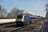 Yet more Sunday diversions on the SWML as First HST power cars 43024 / 97 speed through Hersham with 1V36 10.10 from  Waterloo to Penzance.<br /> <br /> 12 April 2015