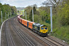 66594 approaches Tilehurst at the head of 4L32 Bristol to Tilbury freightliner.<br /> <br /> 28 April 2015