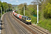 Running about 44 late,  66591 sweeps round the curve into Tilehurst with   4L31 Bristol to Felixstowe freightliner<br /> <br /> 28  April 2015