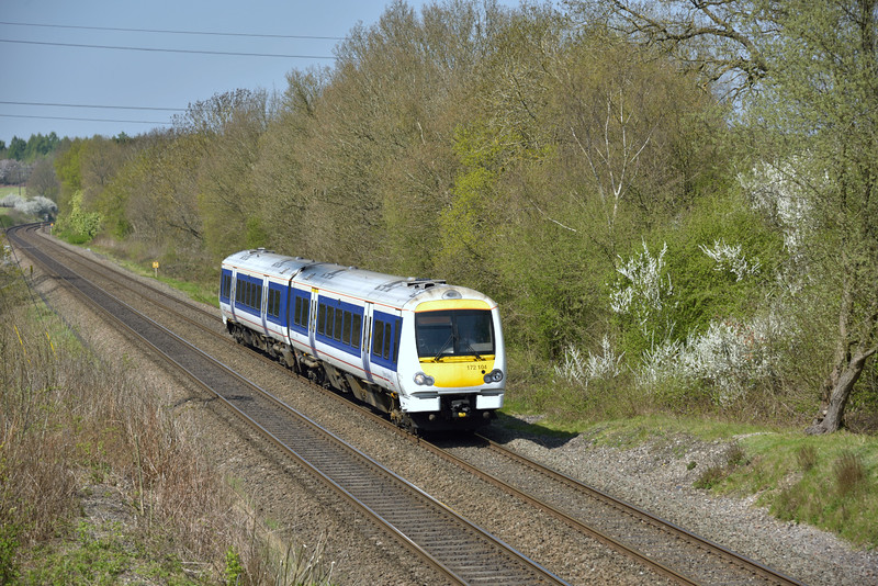 2 car Class 172 No.172104 forms 1H44 1158 Bicester North to London Marylebone and is seen between Seers Green and Gerrards Cross<br /> <br /> 20 April 2015