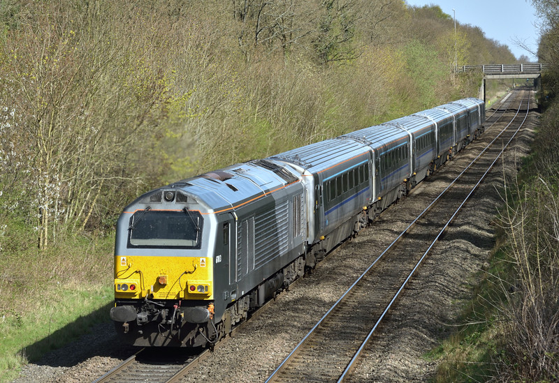 With the second loco- hauled train during my spell at Beaconsfield,  67013 propels 1H55 the 13.12 from  Birmingham Snow Hill led by DVT 82304 up front<br /> <br /> 15 April 2015