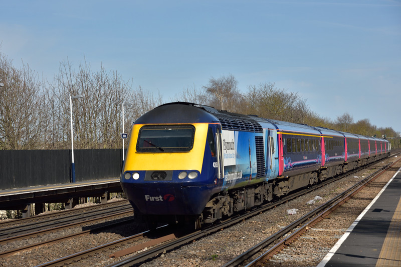 Speeding through Hersham, Power Cars 43163 ' Visit Plymouth and 43146 ' Building A Greater West form the diverted  1V75 14.10  from  Waterloo to Penzance<br /> <br /> 12 April 2015