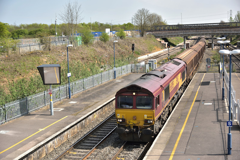 66085 rolls through Iver at the head of 6V47 returning cargo waggons from Tilbury  to Trostre Works<br /> <br /> 16 April 2015