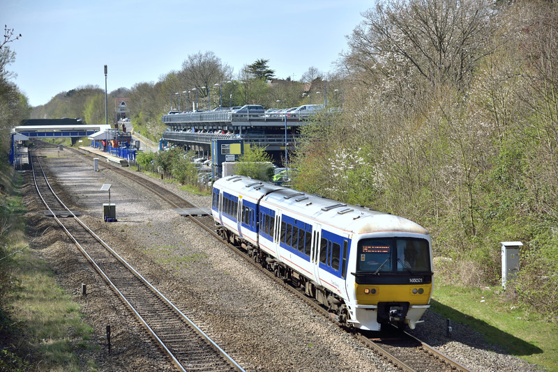 Chiltern Turbo 165021 departs from Beaconsfield as 2H51 13.27 from Aylesbury to London Marylebone<br /> <br /> 15 April 2015