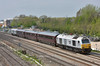67029 'Royal Diamond' passes Stockley Bridge with the DB Schenker Management Train formed with coaches 11039 10211 + 10546 + DVT82146 working 1Z05 1110 Torquay to Ealing Broadway<br /> <br /> 24 April 2015