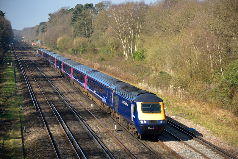 HST power car 43003 heads through Oatlands Cutting with 1O37 06.00 service from Plymouth to London Waterloo<br /> <br /> 6 April 2015