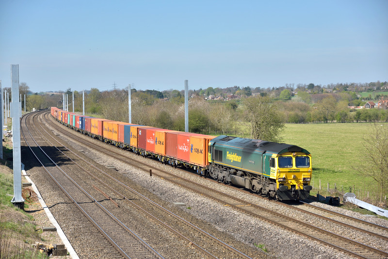 Another day - another Bristol freighliner, as 66533  passes Lower Basildon with 4L32  bound for Tilbury <br /> <br /> 14 April 2015