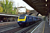 Making a change from the usual diet of Desiros, First GW HST power car 43161 races effortlessly through Weybridge at the head of 1C79 10.07 diverted service from  Waterloo to Plymouth<br /> <br /> 28 December 2015